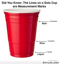 Did you know the lines on a solo cup are measurements marks