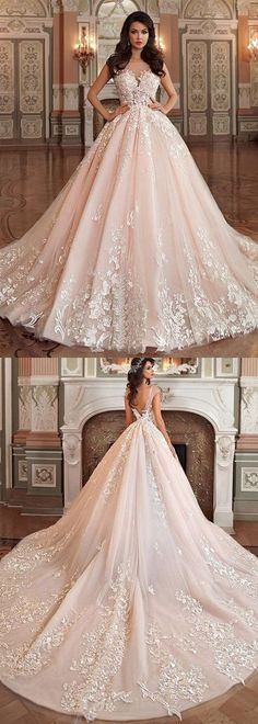 Princess Tulle Bateau Ball Gown Wedding Dress With Lace Appliques #princess #ballgown #weddinggown #bridaldress #princess #okdresses