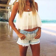Cultivos blusa encabeza la parte superior de encaje pantalones cortos de encaje blanco de los cortocircuitos joyas top blanco blancos camisa de la tapa eb ...