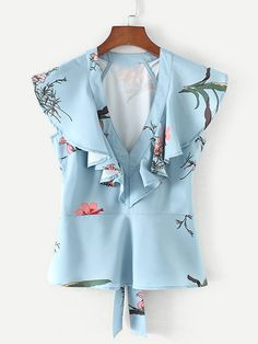 Shop Flounce Detail Self Tie Peplum Blouse online. SheIn offers Flounce Detail Self Tie Peplum Blouse & more to fit your fashionable needs. Simple Shirts, Cute Blouses, Peplum Blouse, Blouse Online, Mode Style, Simple Dresses, Fashion Outfits, Womens Fashion, Casual Chic