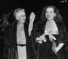 """Actress Bette Davis and her mom at the  """"All about Eve"""" premiere in 1950."""