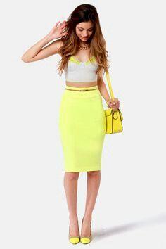 Cute Pencil Skirt Outfits | Cute Neon Yellow Skirt - Pencil Skirt ...
