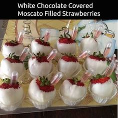 (For adults!) This is cute! Take white chocolate covered strawberries and fill the pipettes with Moscato! Click the picture to get the pipettes