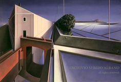 Fughe in risaia (Vanishing points in paddy fields) - olio su tavola (oil on panel), cm 80 x 115 - Executed in 1986