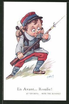 Künstler-AK A. Wuyts: Junge als Soldat im Sturmangriff, Kinder Kriegspropaganda…