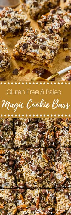 Gluten Free & Paleo Magic Cookie Bars - crust (blanched almond flour, coconut flour, fine sea salt, maple syrup [sub another sweetener], coconut oil, egg white), dark chocolate chips/chunks [sub sugar-free chocolate], chopped pecans, unsweetened shredded coconut, homemade caramel sauce (includes recipe link but I'd probably sub another recipe or a store-bought sugar-free caramel sauce)