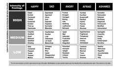 Intensity of Emotions chart - Happy, Sad, Angry, Afraid, Ashamed. Great article on the funneling of other emotions into anger.