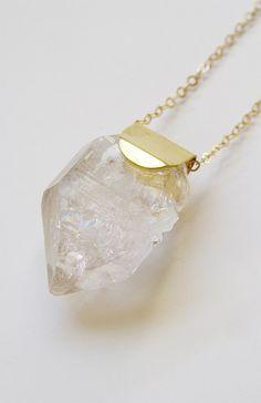 Vanilla Herkimer Diamond Gold Necklace OOAK by friedasophie