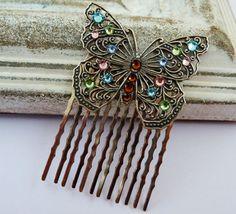 Filigraner Schmetterlings Haarkamm in silber mit von Schmucktruhe, €28.00