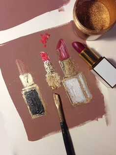 Golden Beauty | paperfashion.net Would be such a cute little painting on our dorm wall bc we <3 lipstick