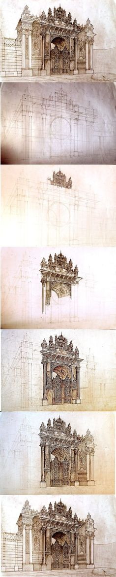 Istanbul free hand drawing by Maja Wrońska, via Behance Croquis Architecture, Detail Architecture, Art And Architecture, Art Sketches, Art Drawings, Illustrations, Illustration Art, Free Hand Drawing, Perspective Drawing