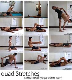 quad stretches, easy baradvajasana side bending yoga pose, triang muka eka pada paschimotanasana prep, recllining half hero, reclining half hero quad stretch variation, hero pose, bent back hero, reclining hero pose, lunging quad stretch, one leg frog pose quad stretch, frog pose quad stretch