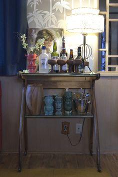 "Cocktail ""cart"" Emily Henderson - Secrets From a Stylist, Portfolio Bookshelf Bar, Tiki Lounge, Tiki Party, I Love Lamp, Tiki Room, Diy Bar, Mid Century Decor, Interior Stylist, Kitsch"