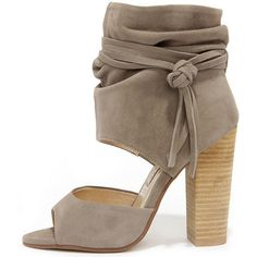 Chinese Laundry Leigh Grey Kid Suede Booties ($149) ❤ liked on Polyvore featuring shoes, boots, ankle booties, grey, peep-toe ankle booties, grey booties, suede boots, grey boots and gray suede booties