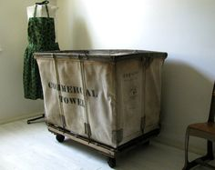 Industrial Factory Laundry Bin Commercial by rerunzvintageshop, $289.00