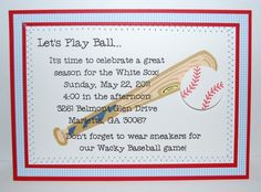 baseball team end of the year party invitation