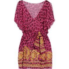 Versace Leopard-print chiffon kaftan ($295) ❤ liked on Polyvore
