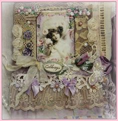 Scrapbook Fabric Lace Book  Collage Book Album Mixed by khatsart, $68.00