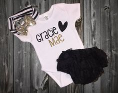 Personalized Baby Girl Outfit Baby Girl by MadKaySonCreations