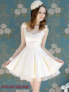 Summer New White Jacquard Ladies Bowknot Slim Waist Pompon Skirt Swing Sleeveless Dress