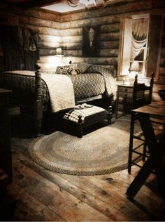 Primitive bedroom ♥ the bed under the bed  That would be the coolest dog bed!