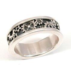 mens steampunk gear ring sterling silver - Gear Wedding Ring