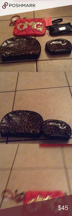 Betsy Johnson purse bundle 4 piece betsey Johnson bundle 2 cosmetic bags one clutch one wristlets Betsey Johnson Bags Satchels