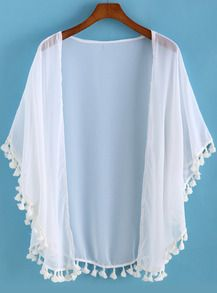 SheIn offers White Tassel Loose Chiffon Kimono & more to fit your fashionable needs. Kimono Fashion, Diy Fashion, Fashion Outfits, Womens Fashion, Japan Fashion, Street Fashion, Kimono Cardigan, Kimono Top, Chiffon Cardigan