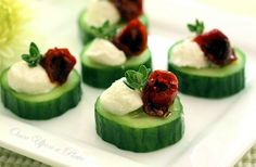 Apetizers - Cucumber bites with Herbs, oven roasted tomato and Chèvre