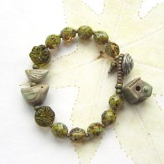 Bird bead bracelet, Ceramic bead bracelet, ceramic and glass bead bracelet - 'FULLY FLEDGED'. £42.00, via Etsy.