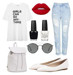 """""""10 ways to style sunglasses"""" by fashionandfriends on Polyvore featuring Topshop, Jimmy Choo, Aéropostale, Ray-Ban, OPI and Lime Crime"""