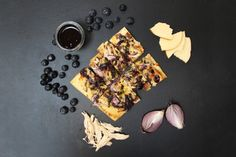 Vivian Howard's Blueberry BBQ Chicken Flatbread with Smoked Gouda, Red Onion and Jalapeño. via Alabama Chanin