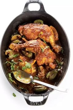 Perhaps the most classic Moroccan tagine is this one: braised chicken, green olives, and preserved lemons in a sauce fragrant with ginger and coriander.