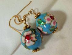 Earrings Handmade 14KT GF Ear Wires Vintage Cloisonne Beads Blue Floral Bohemian Chic Lovely Versatile by StoneForestJewels on Etsy