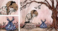 watercolour illustrations girl in forest - Google Search
