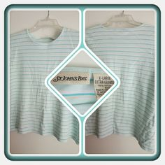 Woman's Top Size XL  This IS A Woman's Tee With Greenish Blue Stripes & White In Great Condition Very Pretty For Spring & Summer Excellent Condition. I'm Selling For A Friend  PAYPAL  TRADES  LOWBALLING  St. John's Bay Tops Tees - Short Sleeve