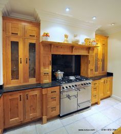 J&J Heritage Shaker Range Cooker Surround and Chimney Made to Your Size in Pippy Oak  image