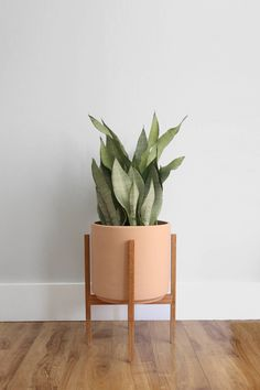 "Large - Mid-century Modern Planter with Oak Wood Planter Stand - 12"" Unglazed Ceramic (Terracotta) by thepottedearthco on Etsy https://www.etsy.com/listing/513397610/large-mid-century-modern-planter-with"