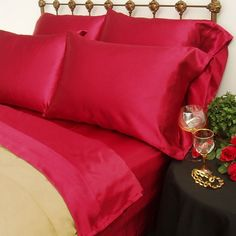 Scent-Sation 230 Thread Count Charmeuse II Satin Sheet Set in Red - - Sheets - Bed & Bath Satin Sheets, Bed Sheets, King Pillows, Bed & Bath, Sheet Sets, Bedding Sets, Home Furnishings, Pillow Cases, Master Bedroom