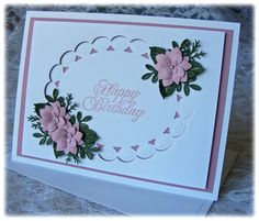 Elegant Handmade Birthday Card with 3D flowers in pearlescent mauve. $3.95, via Etsy.