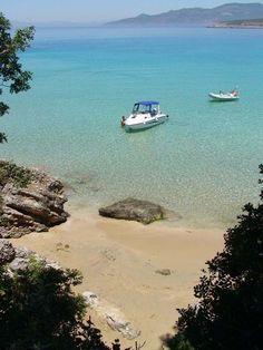 Small beach in Stoupa village,Messenia region, Peloponnese, Greece Santorini, Wonderful Places, Beautiful Places, Skiathos Island, Peaceful Life, World Images, Greece Travel, Beautiful Islands, Places To See