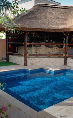 Thatched gazebo with bar area overlooking the pool! Perfect for every home! Outdoor Gazebos, Outdoor Rooms, Outdoor Living, Outdoor Decor, Thatched House, Thatched Roof, Garden Gazebo, Garden Landscaping, Hot Tub Gazebo