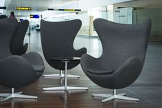 The Egg Chair by Arne Jacobsen in Copenhagen Airport. Produced by Fritz Hansen. Egg-cellent - don't you think?