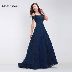 Dark Blue Prom Dresses Long 2017 Fashion Boat Neck Beading Lace A-line  Floor Length Vintage Luxury Evening Dresses Plus Size 9f5d8aeab9b8