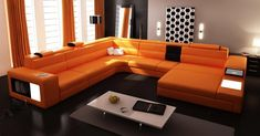 Orange Sectional Couch