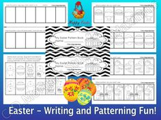 Easter Writing and Patterning Fun! CCS Aligned. These interactive and engaging activities are a great addition to your Easter Literacy & Math centers / workshop. Activities can be used as Morning Work or part of the Literacy/ Math centers. Students work on: improving vocabulary, use their schemata when describing Easter related pictures, patterning, improving reading and writing skills, segmenting and blending words, proper conventions of writing. #Easter #math #literacy