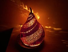 I love lamps.  Gourd Art Electric Table Mood lighting lamp by Barbarashandcrafts, $65.00