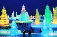 The town of Harbin in northeast China has created an entire city carved out of ice and snow.