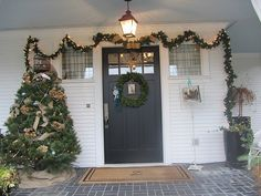 Front entrance decorated for Christmas