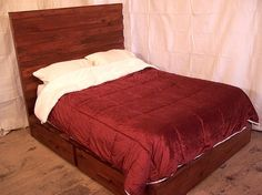 Modern Platform Bed with Headboard and 4 by BarnWoodFurniture, $1745.00